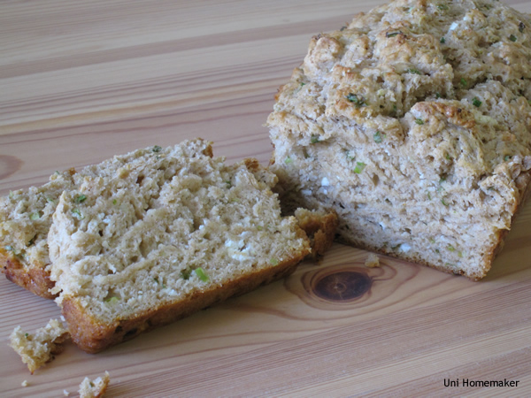 Goat Cheese and Scallion Beer Bread