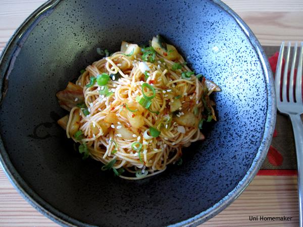 Kimchi Bibim Guksu (Spicy Kimchi Cold Noodles)