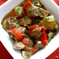 Veal Stew with Mushrooms and Peppers