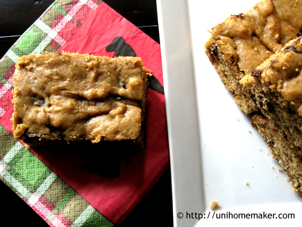 Pumpkin Eggnog Blondies