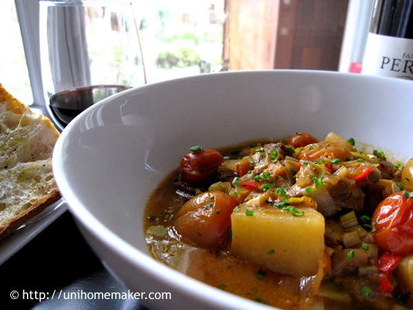 Roasted Tomatoes and Leek Beef Stew