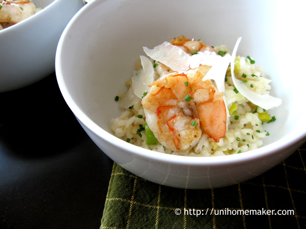 Shrimp Leek and Prosecco Risotto