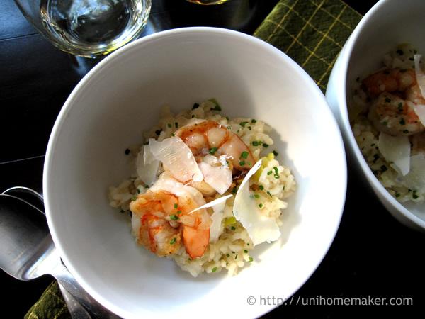 Shrimp Leek and Prosecco Risotto