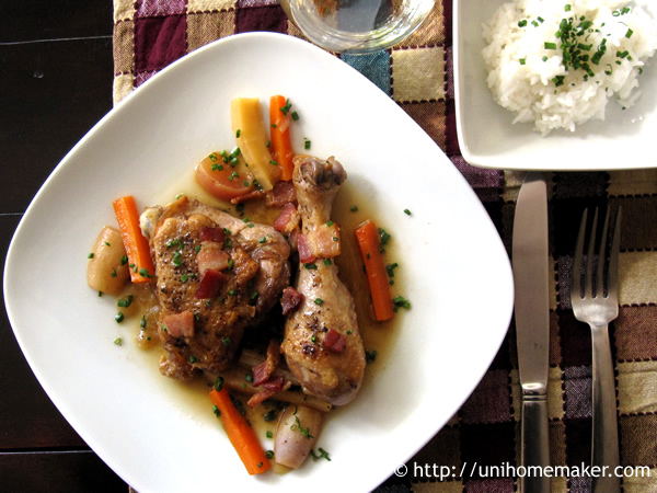 Braised Chicken with Root Vegetables | Uni Homemaker