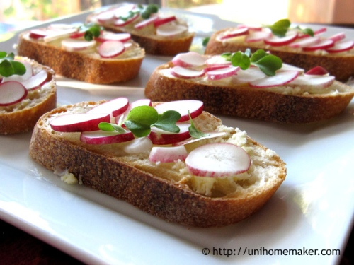 Radish and Butter Crostini