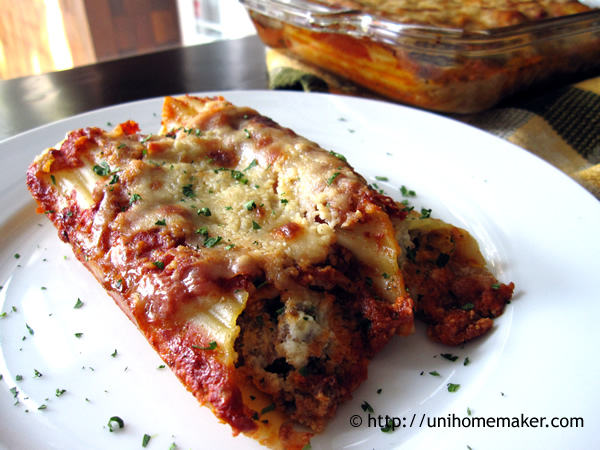 vari design Prezzo del 50% prezzo speciale per Beef and Cheese Manicotti | Uni Homemaker
