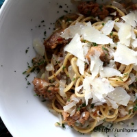 Spaghetti with Sausage and Shallots