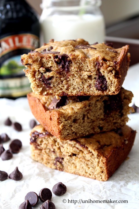 Baileys Chocolate Chunk Cookie Bars