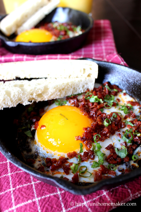 Fried Duck Egg Chorizo Cracklings Toast