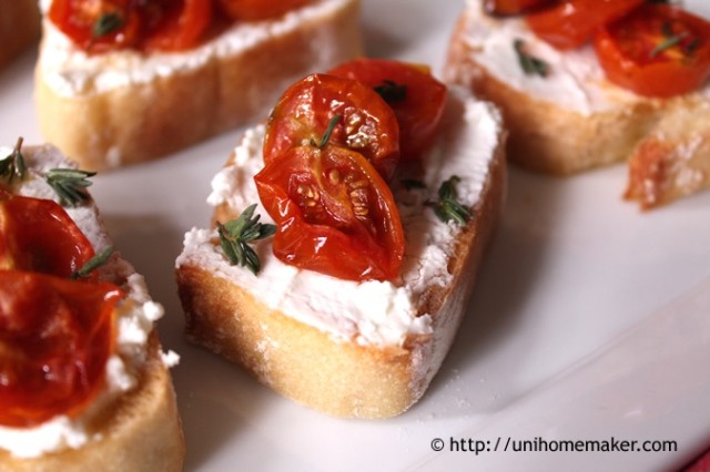 Roasted Tomato and Fromage Blanc Crostini