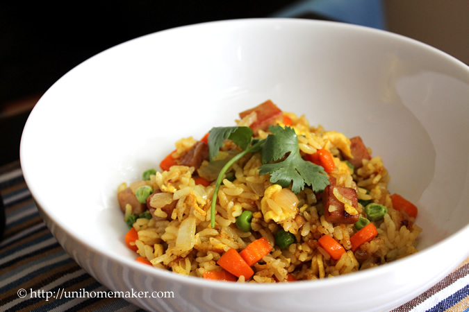 Curry Spam Fried Rice | Uni Homemaker