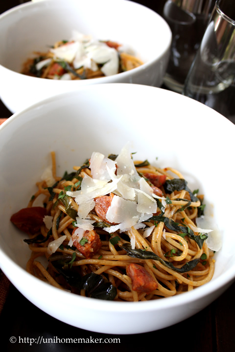 Spaghetti with Green Chard and Chorizo