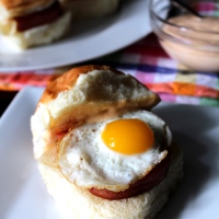 Spam & Quail Egg Sliders with Spicy Garlic Aioli