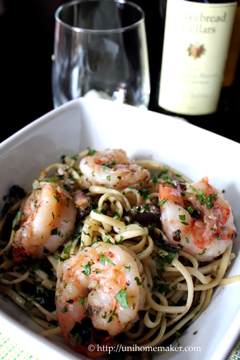 Linguini with Shrimp and Olive Tapenade