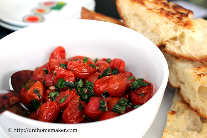 Roasted Tomato Bruschetta | Uni Homemaker