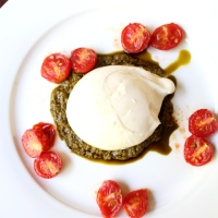 Burrata with Roasted Tomatoes and Pesto
