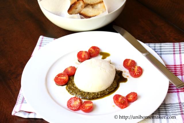 Burrata with Roasted Tomatoes and Pesto