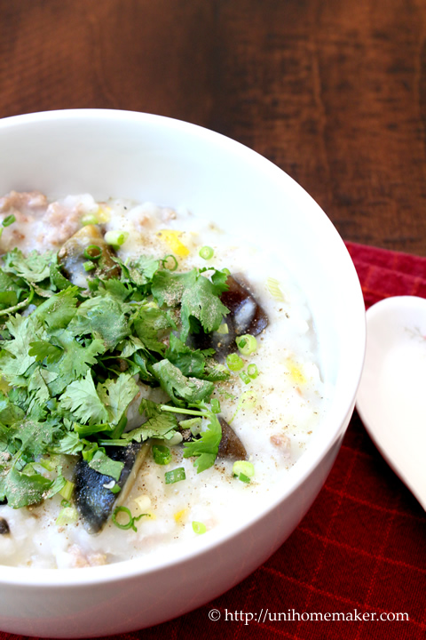 Ground Pork and Preserved Egg Congee (Porridge)