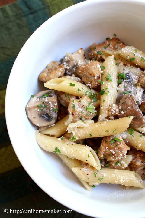 Penne with Chicken Sausage and Crimini Mushrooms