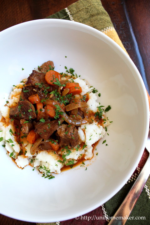 Beef Stew with Caramelized Onions and Amber Lager