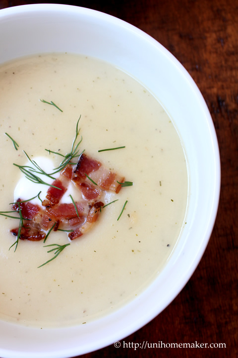 Potato Leek Soup with Dill and Bacon
