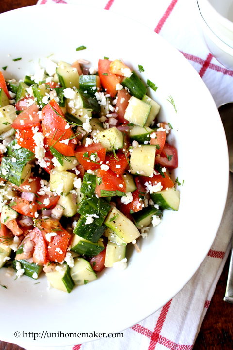 Tomato Cucumber Dill Salad with Feta