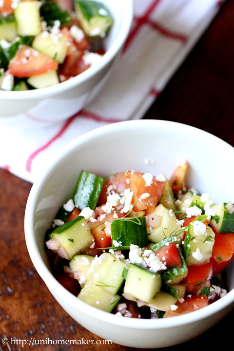 Tomato Cucumber Dill Salad with Feta - uni homemaker