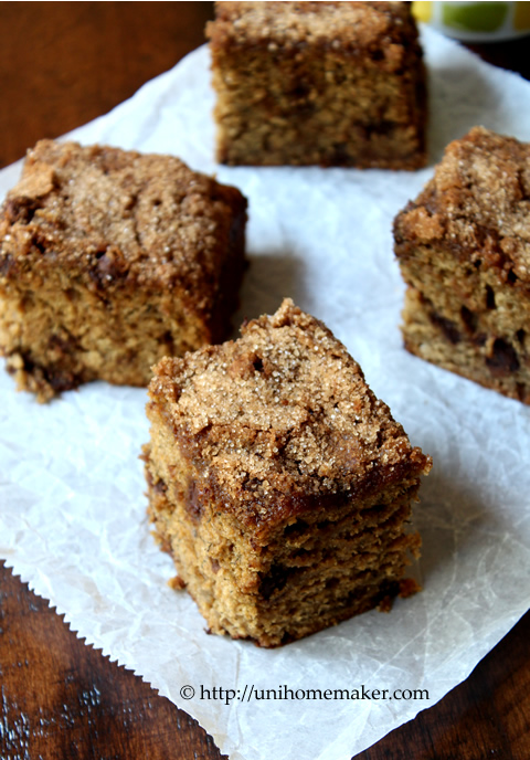 Banana Chocolate Cinnamon Snack Cake