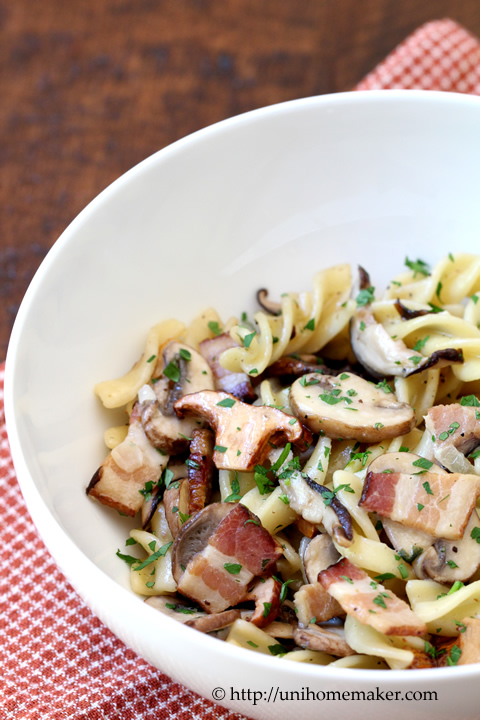 Fusilli with Wild Mushrooms and Bacon