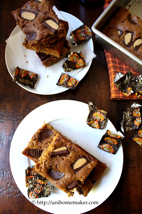 Pumpkin Ale Peanut Butter Cup Blondies