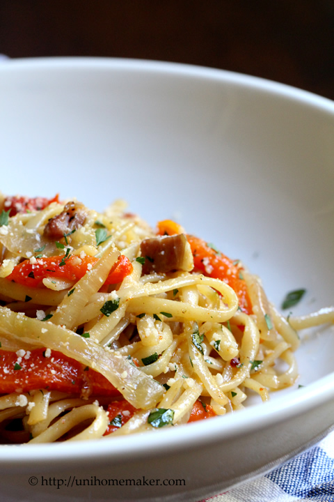 Linguini with Roasted Red Pepper and Pancetta
