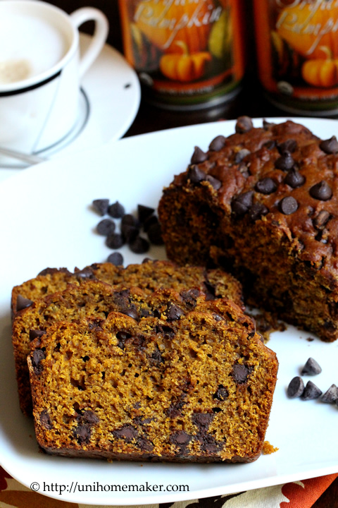 Pumpkin Espresso Chocolate Chip Bread