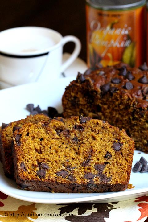 Pumpkin Espresso Chocolate Chip Bread
