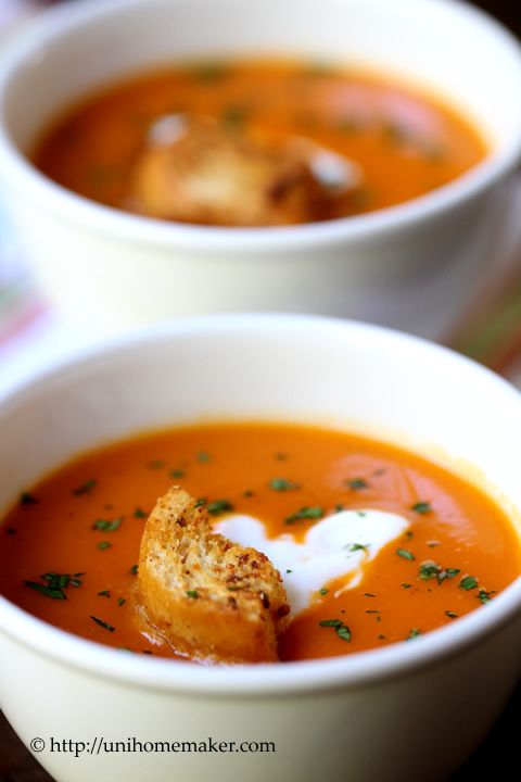 Roasted Red Pepper Soup | Uni Homemaker