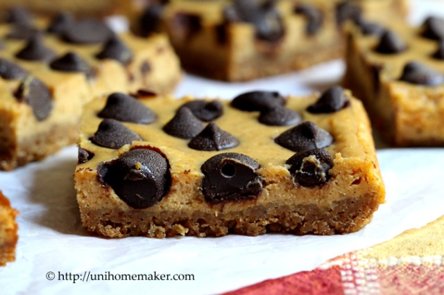 Dark Chocolate Chip Pumpkin Cheesecake Bars