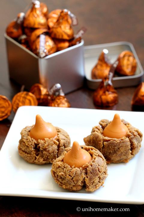 Peanut Butter Pumpkin Spice Kiss Cookies
