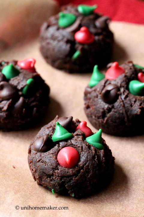 Dark Chocolate Peanut Butter and Holiday Chip Brownie Bites