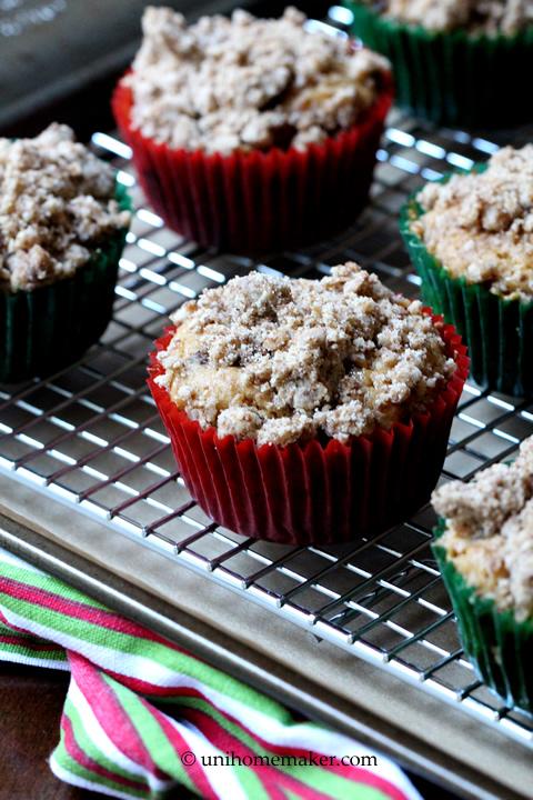 Eggnog Kahlua Chocolate Chunk Crumb Muffins