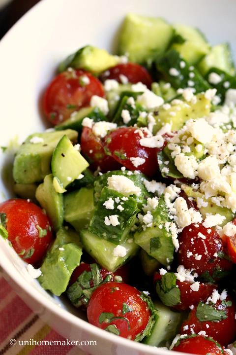 Cucumber Tomato and Avocado Salad